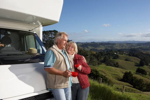 couple RV looking at landscape